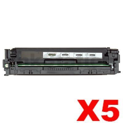 5 x Compatible HP CE320A Black Toner Cartridge 128A - 2000 pages