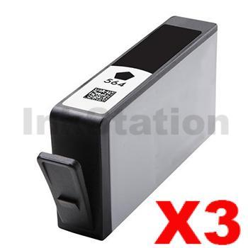 3 x HP No.564XL (CN684WA) Compatible Black High Yield Inkjet Cartridge (with chip)