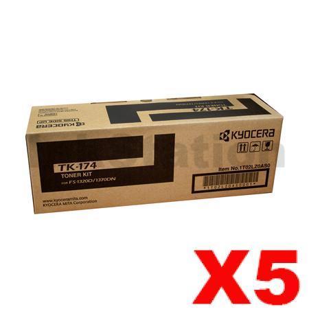 5 x Kyocera TK-174 Black Genuine Toner Kit - 7,200 pages
